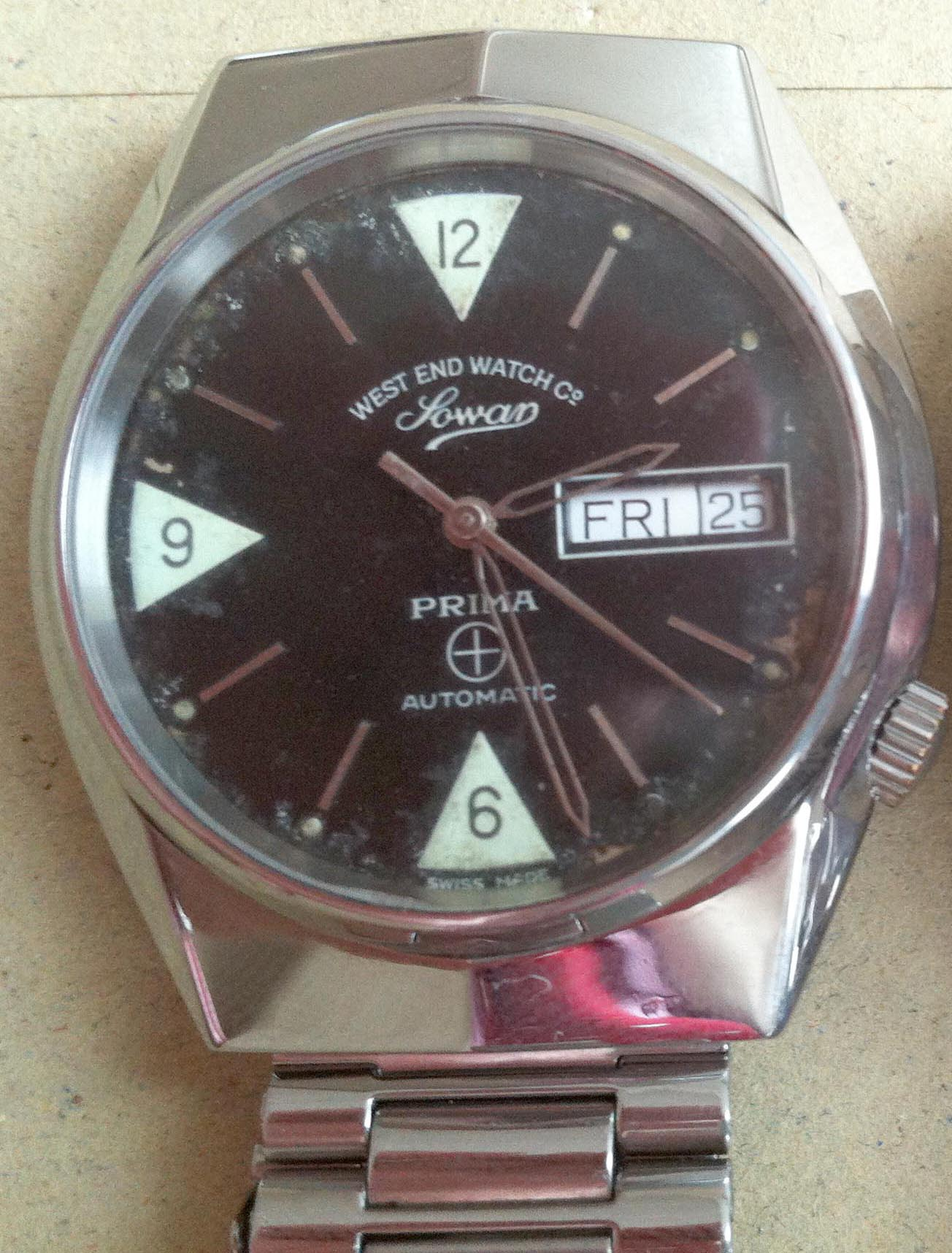 West End Watch Company Sowar Prima Automatic day date at 3 black dial ...