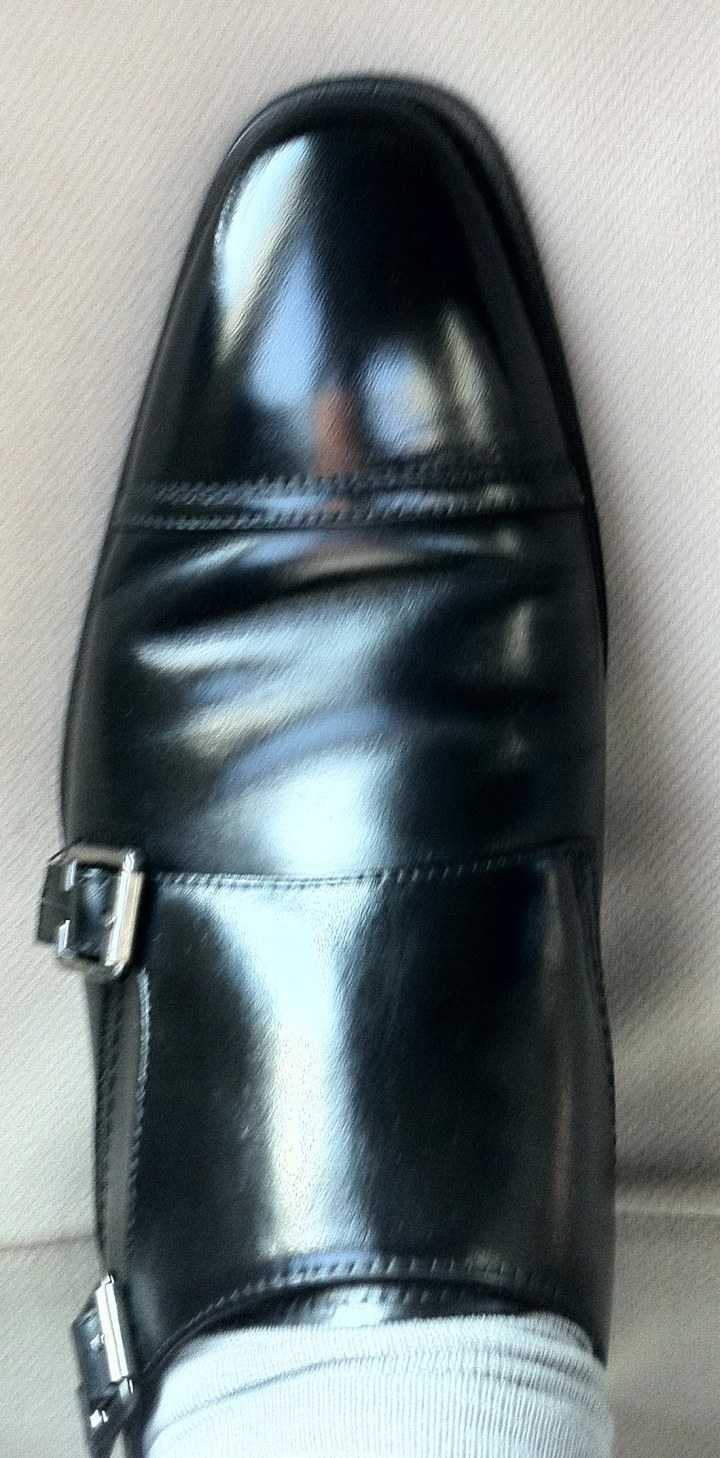 Black double monk shoes