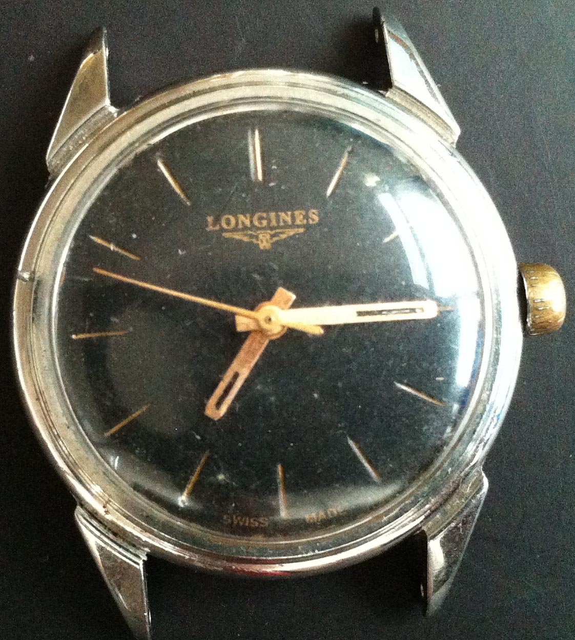 1956 vintage longines manual winding watch in stainless