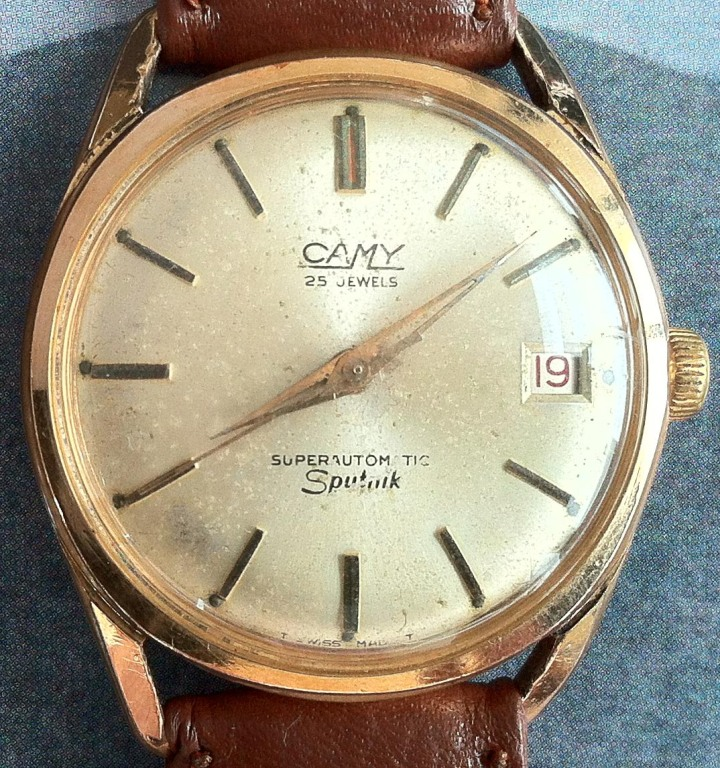 Camy 25 Jewels Superautomatic Sputnik Date Gold Plated