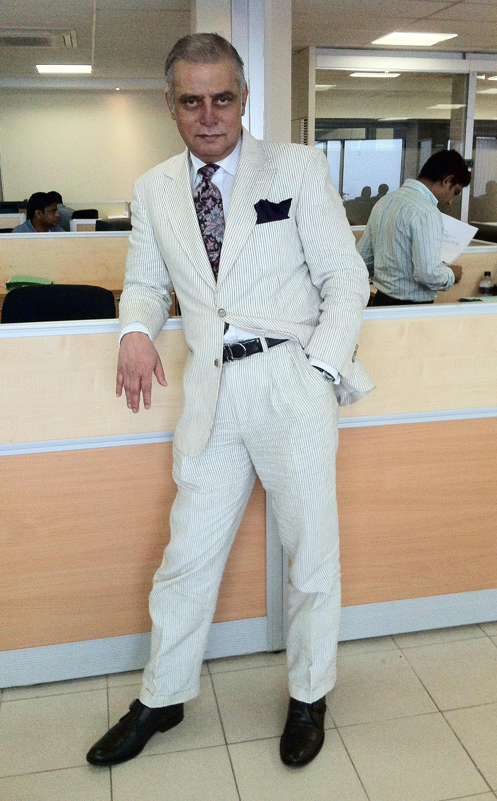 black white striped two button linen suit this is a