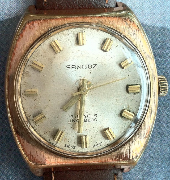 Sandoz 17 Jewels Incabloc Gold Plated Manual Winding
