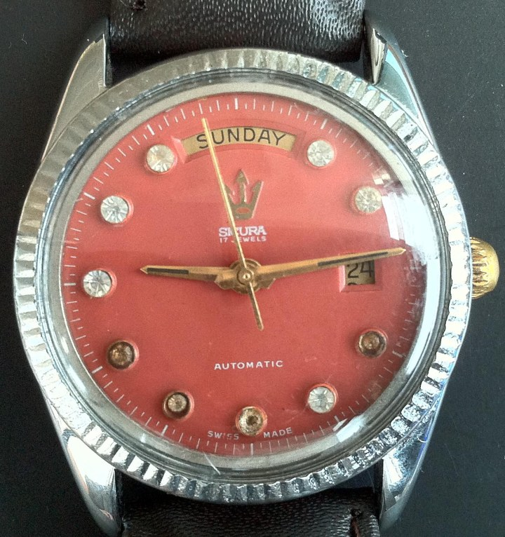 Sicura 17 Jewels Automatic Date at 3 Day at 12 Red Dial