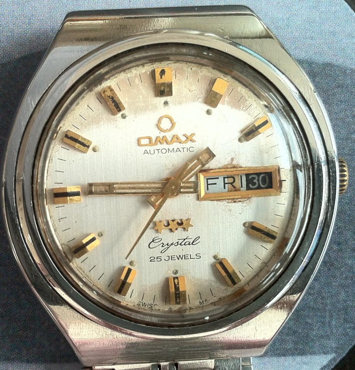 Omax Automatic Crystal 25 Jewels Day Date SS