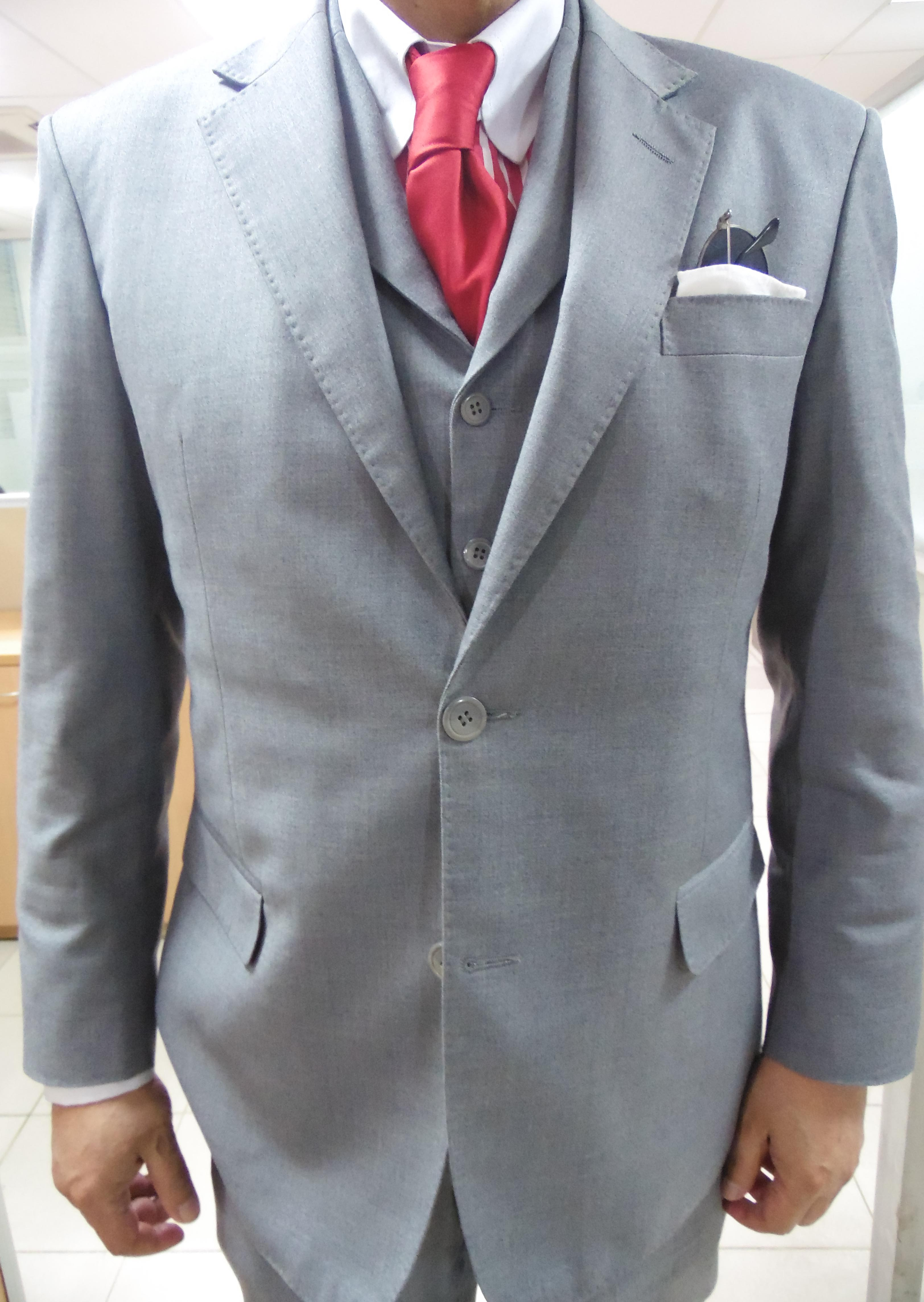 Grey Suit Red Tie Brown Shoes