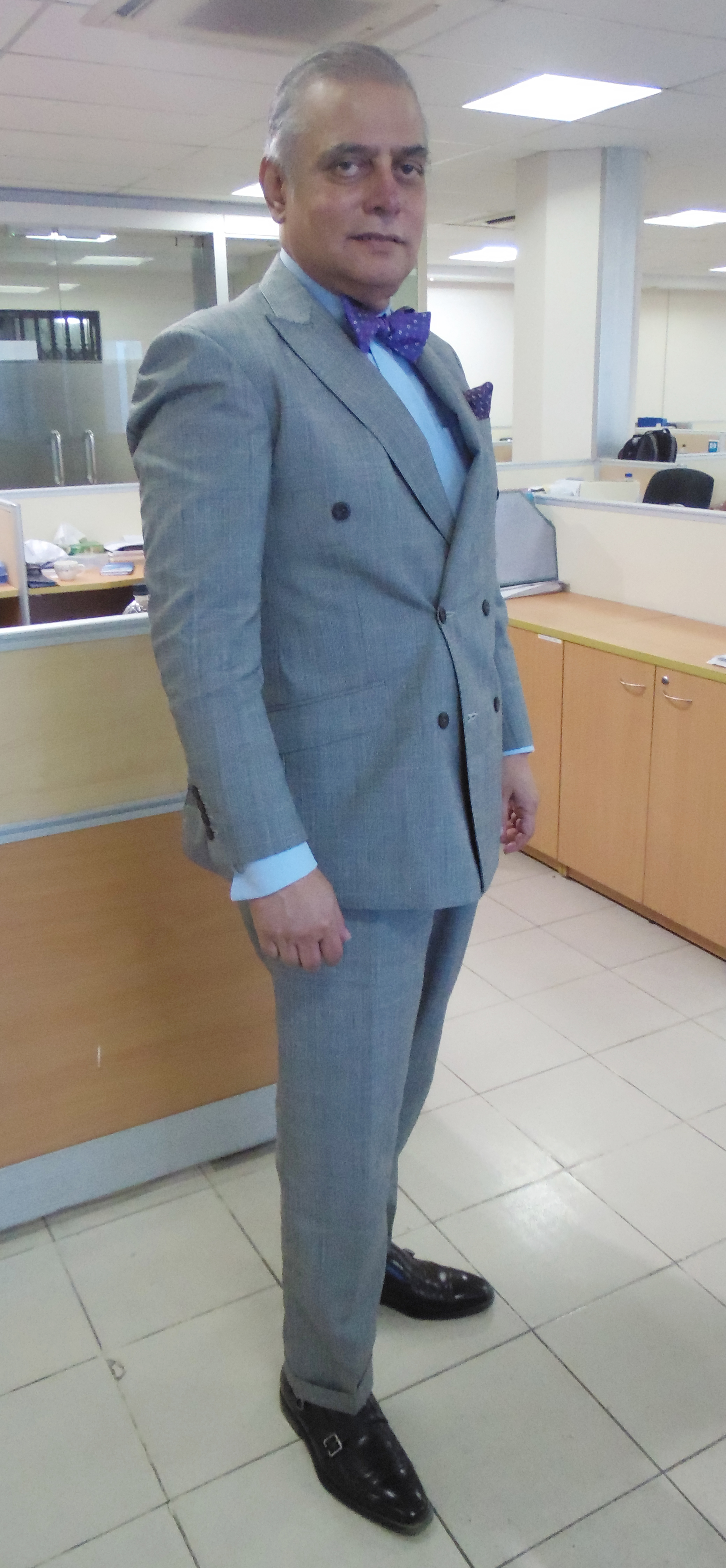 gray wool/MF blend Glen Plaid double-breasted suit – This is a blog ...