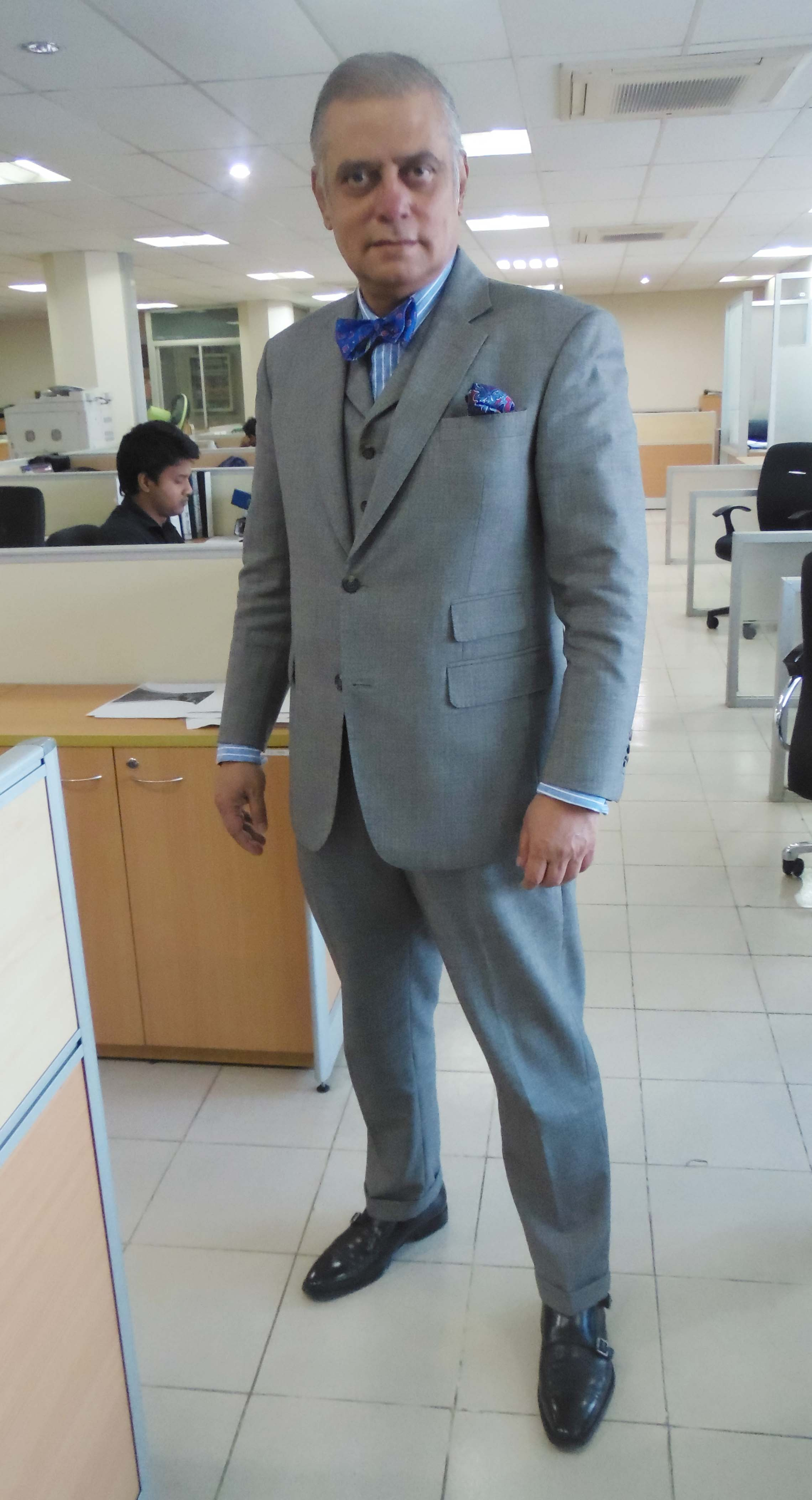 Charcoal suit brown shoes wedding