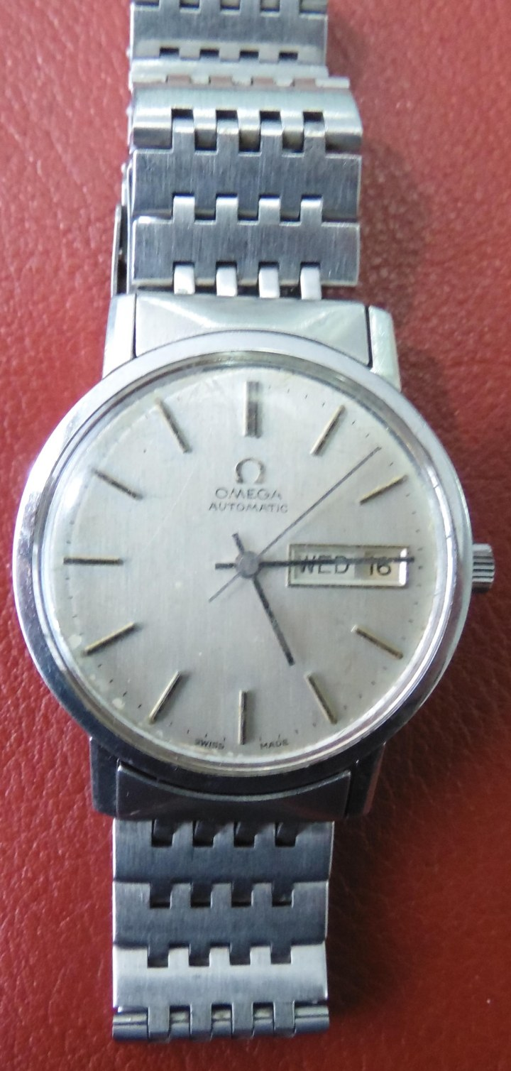 Omega automatic day date stainless steel watch 1959