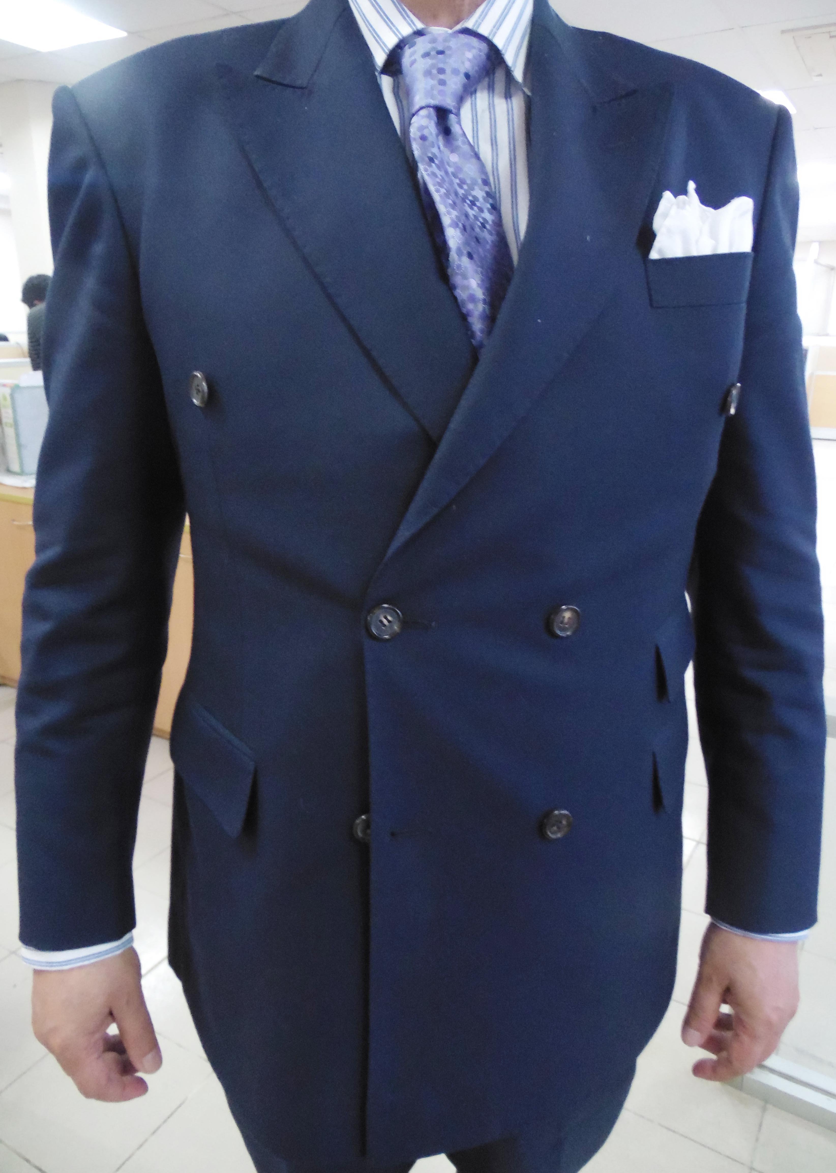 mediumweight woolen blue doublebreasted suit whiteblue