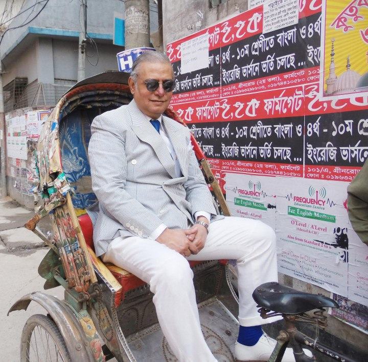 Riding a Rickshaw.