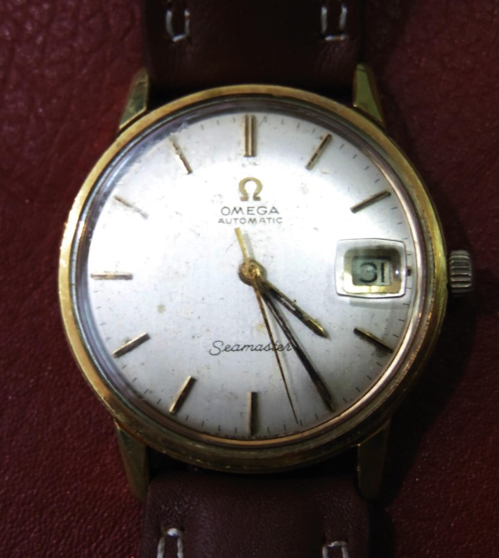 vintage omega seamaster automatic gold plated in brown leather strap