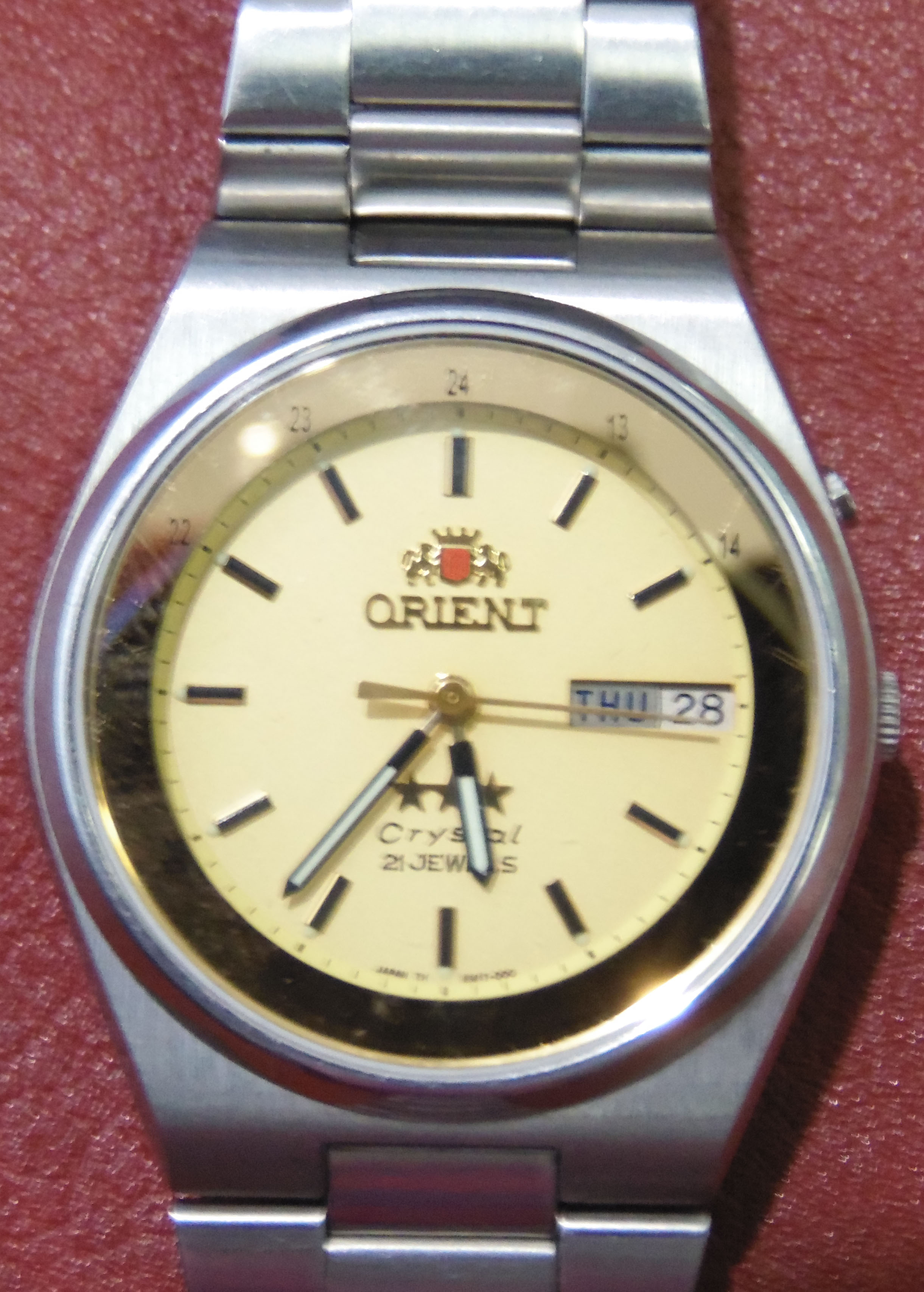 Orient Crystal 21 Jewels Day Date Automatic Watch In