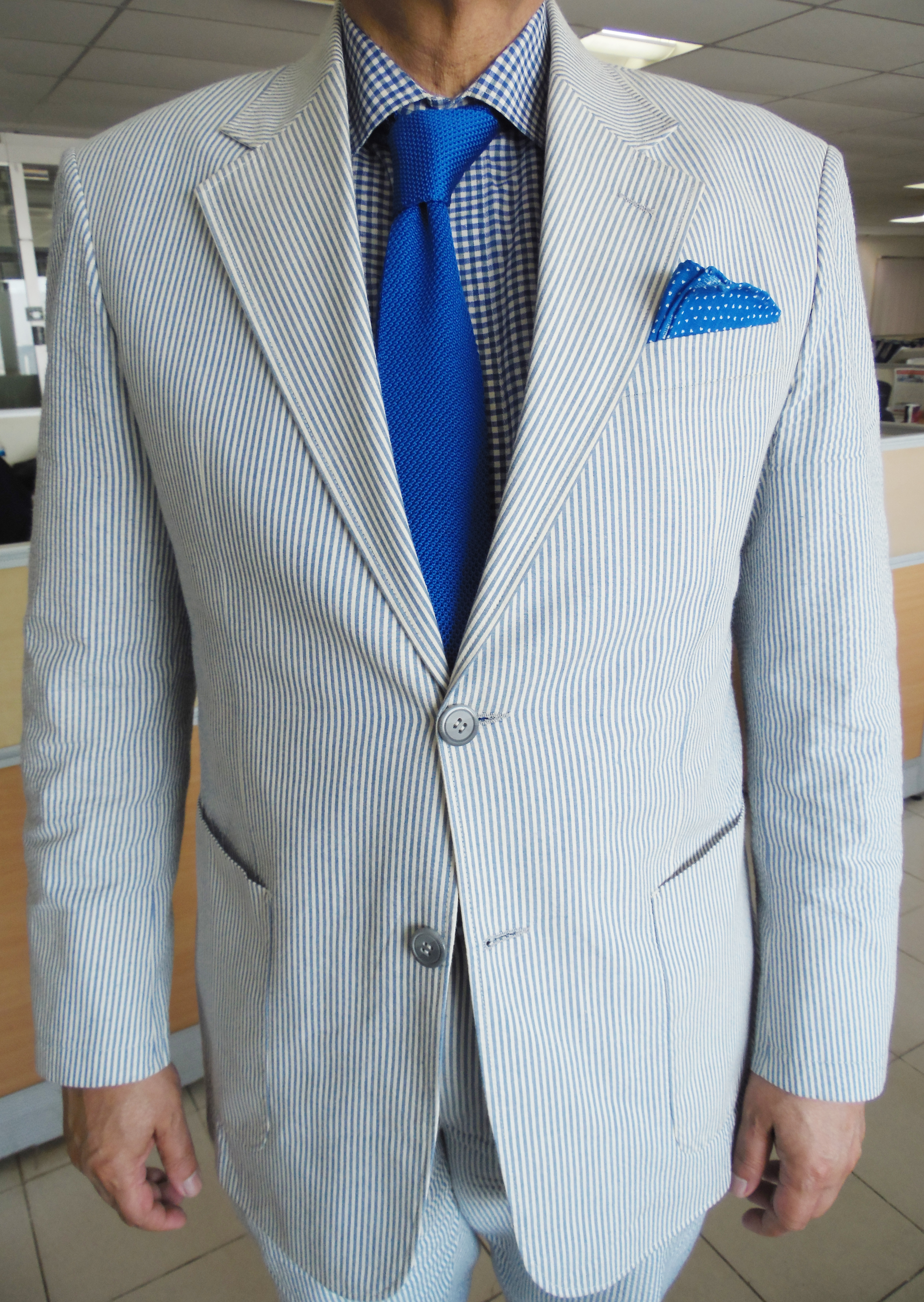 Blue White Gingham Shirt With French Cuffs This Is A