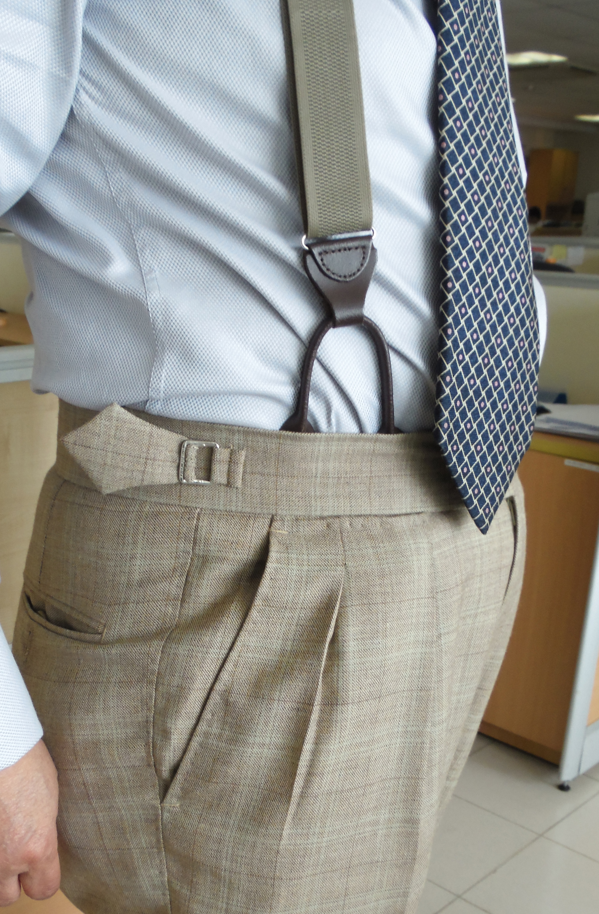 2 Inch Split Waistband Trousers With Side Tabs No Belt