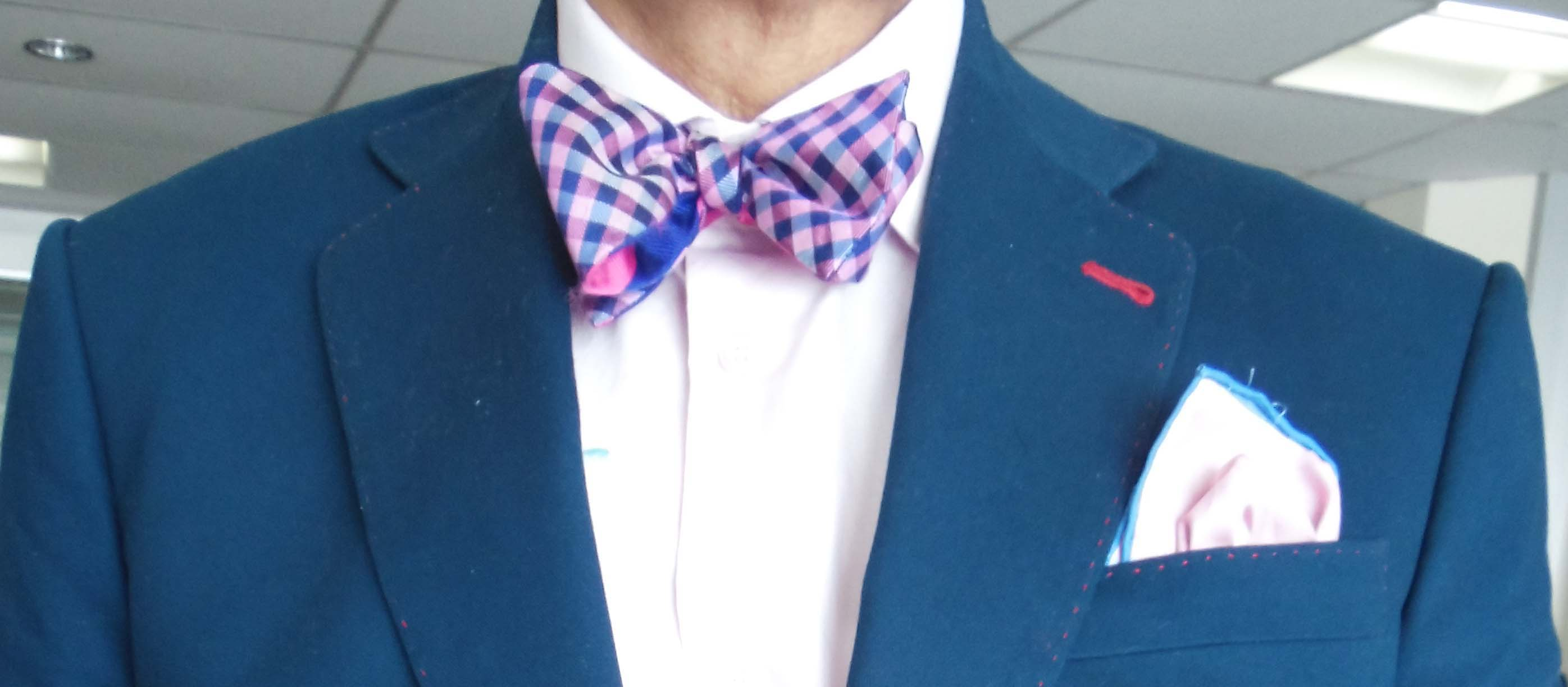 Blue Jacket Light Pink Shirt Blue And Pink Bow Tie Pink