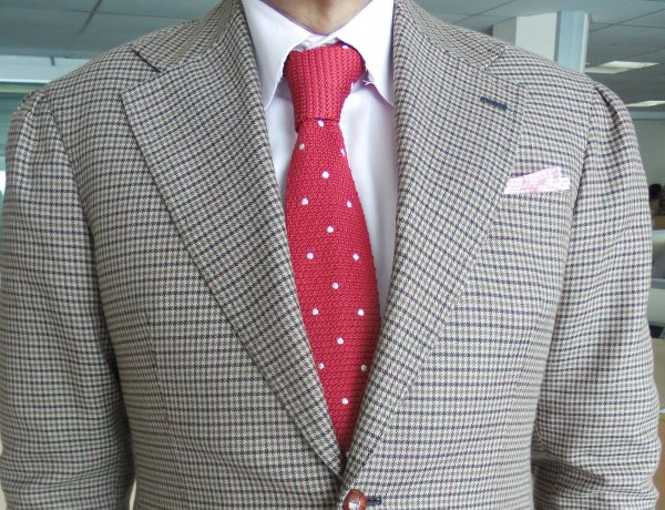 Brown Gun Club check sports jacket, white shirt, pink silk knit tie  with white dots, light pink check linen pocket square
