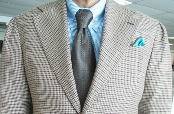 Grown Gun Club check sports jacket, light blue shirt, brown silk tie, blue silk pocket square