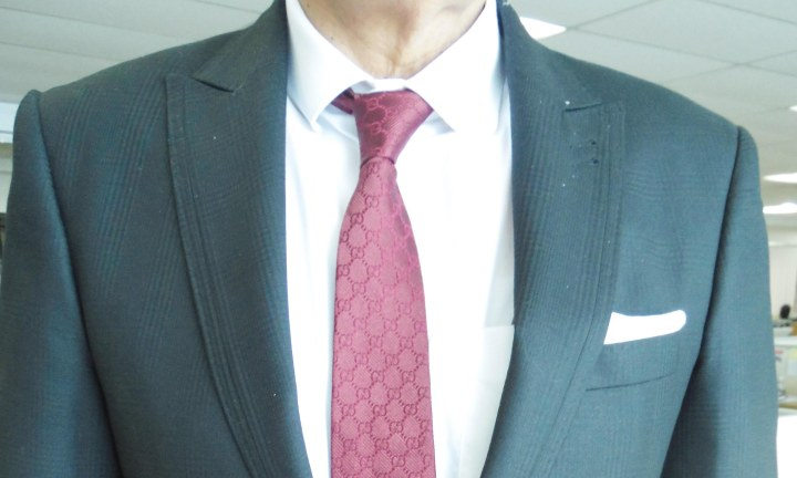 Gray PoW suit, white shirt, maroon silk tie, white linen pocket square