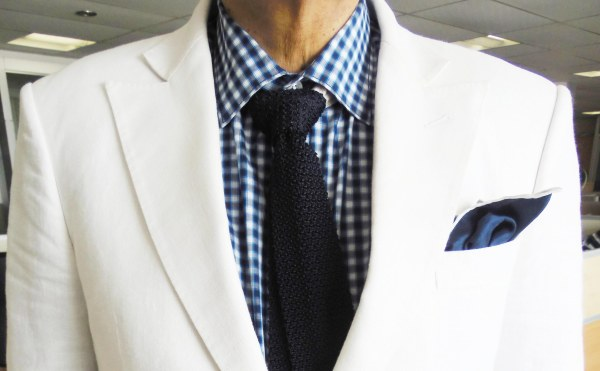 White linen sports jacket, blue/white gingham shirt,  dark blue silk knit tie, blue silk pocket square