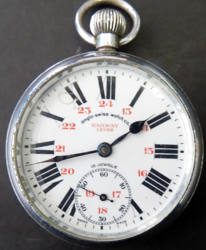 Anglo swiss watch co railway watch front