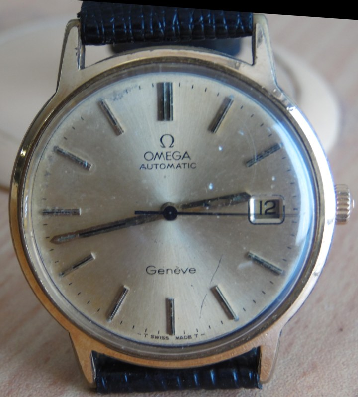 Omega Automatic Geneve gold-plated black lether strap