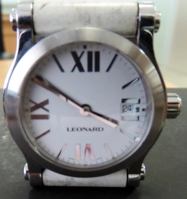 Leonard watch with white leather strap